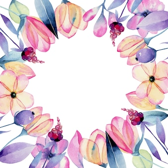 Flores de flor de maçã em aquarela e moldura de planta tenra