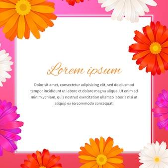 Flores de gerbera e espaço de texto