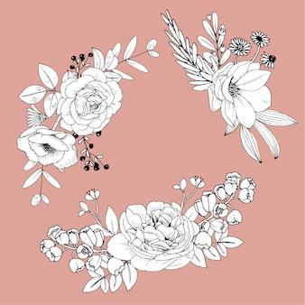 Flores de giro linha isoladas. buquê de mão desenhada