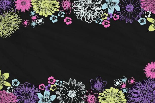 Flores de giz mão desenhada e fundo de quadro-negro