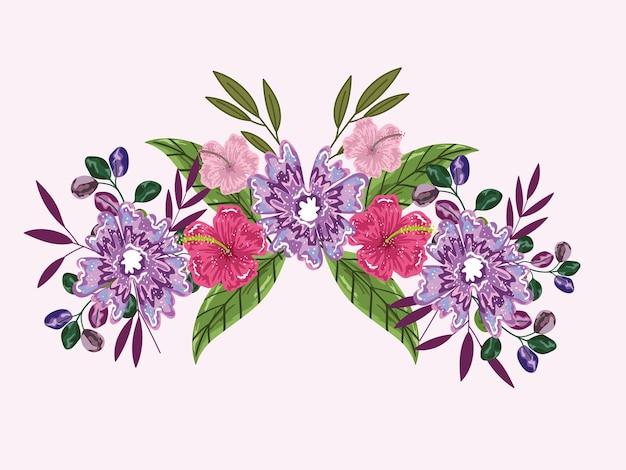 Flores de hibisco, broto de folhagem, bouquet, ilustração, ilustração