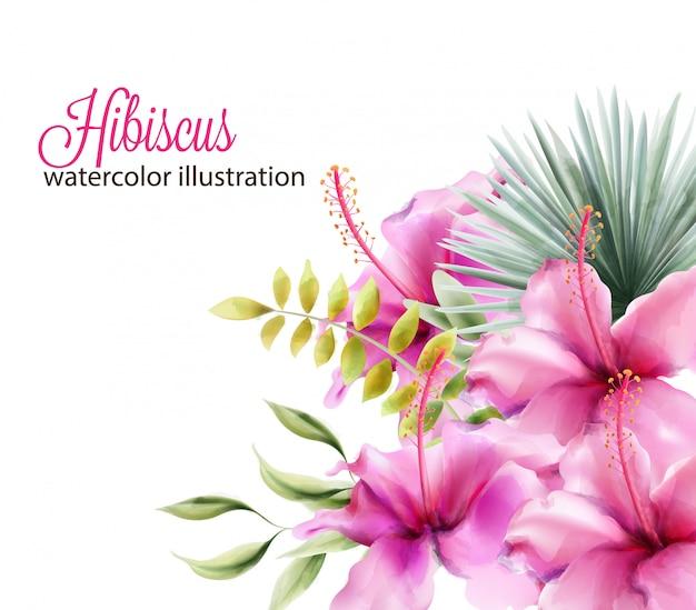 Flores de hibisco e folhas de palmeira