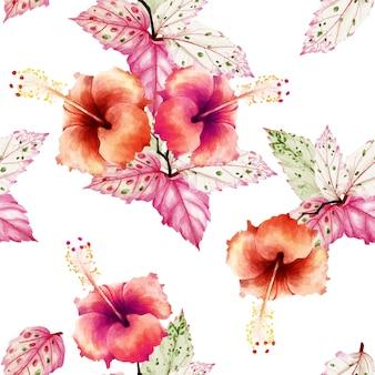 Flores de hibisco sem costura padrão em aquarela.