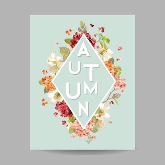 Flores de hortênsia em aquarela de outono vintage para convite, casamento, cartão de chá de bebê