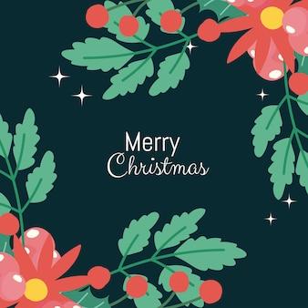 Flores de inscrição de cartão de feliz natal e moldura de bagas de azevinho