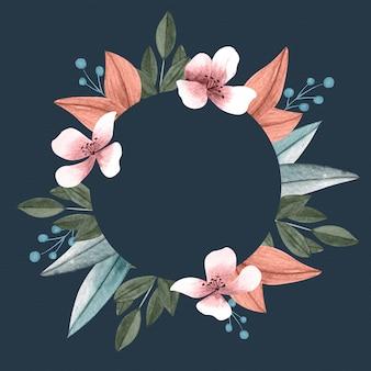 Flores de inverno colorido com banner círculo vazio