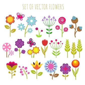 Flores de jardim brilhante criança e conjunto de vetores de borboleta