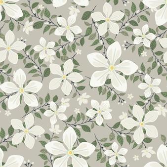 Flores de jasmim brancas grinalda estilo de hera com galho e folhas, padrão sem emenda