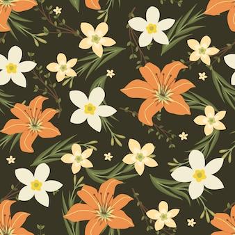 Flores de laranja e jasmim grinalda estilo de hera com galho e folhas, padrão sem emenda