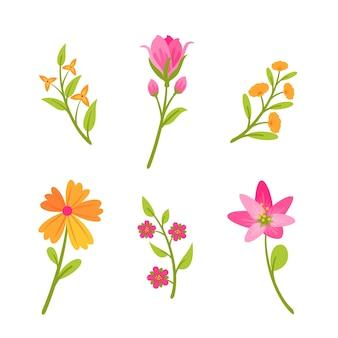 Flores de laranja e rosa design plano