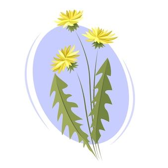 Flores-de-leão sobre um fundo azul claro. ilustração vetorial