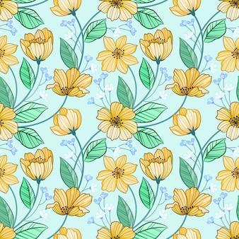 Flores de linha amarela e padrão sem emenda de folha verde.