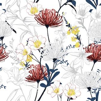 Flores de linha botânica de verão linha padrão sem emenda vector