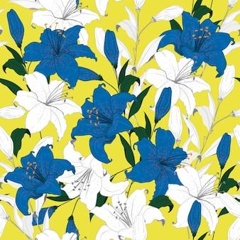 Flores de lírio de padrão floral de verão brilhante