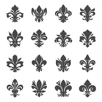 Flores de lírio real francês. silhueta de decoração floral heráldica, ilustração vetorial