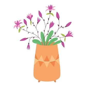 Flores de lírio roxas em vaso