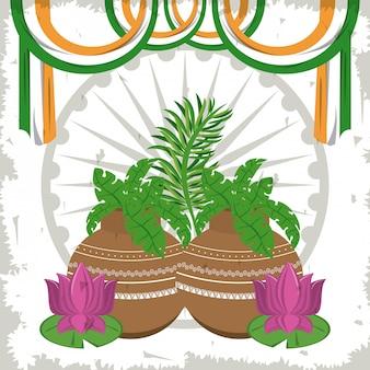 Flores de lótus da índia em vasos com bandeiras