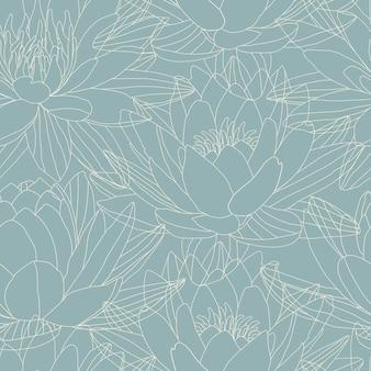 Flores de lótus no padrão sem emenda