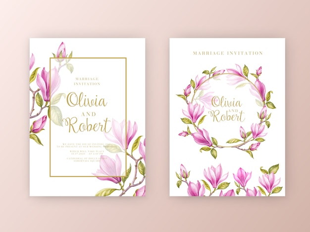 Flores de magnólia rosa conjunto de cartão de convite de casamento