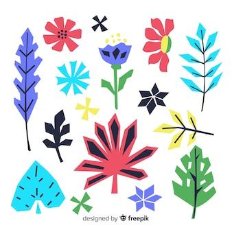 Flores de mão desenhada e conjunto de folhas