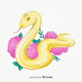 Flores de mão desenhada e ilustração de cobra