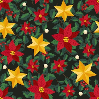Flores de natal e estilo de hera grinalda decorativa com galhos e folhas, padrão sem emenda