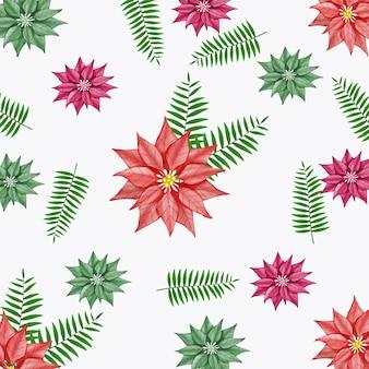 Flores de natal em aquarela e fundo padrão com folhas verdes