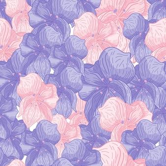 Flores de orquídea com contorno de cor rosa e azul estampado padrão uniforme