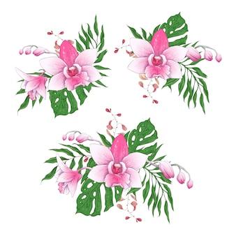 Flores de orquídea de paphiopedilum de buquês de flores tropicais exóticas