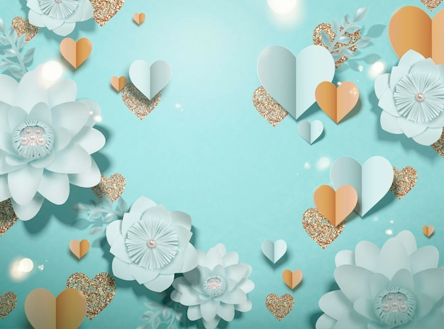 Flores de papel elegantes e decorações de coração em fundo azul claro na ilustração 3d