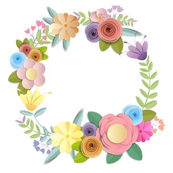 Flores de papel ofício, bouquet floral festivo, natureza clipart isolado no fundo branco, vetor