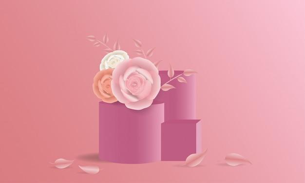 Flores de papel rosa elegante e coluna de palco na ilustração 3d