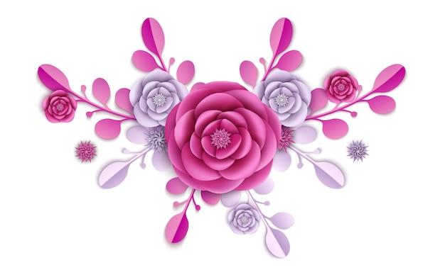 Flores de peônia e ilustração floral abstrata