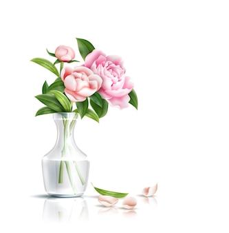 Flores de peônia realistas com buquê de folhas