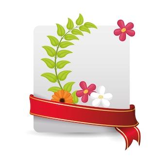 Flores de primavera bonito cartão e fita embrulhada