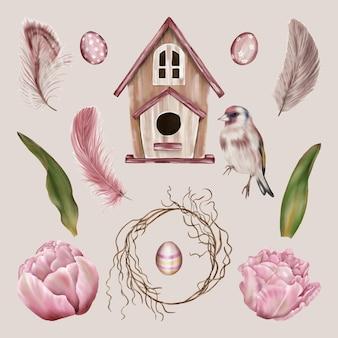 Flores de primavera com casa de pássaro