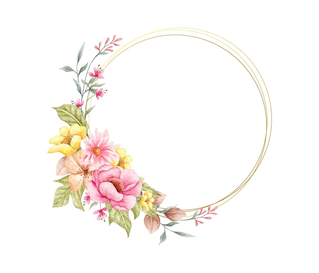 Flores de primavera em aquarela com moldura dourada