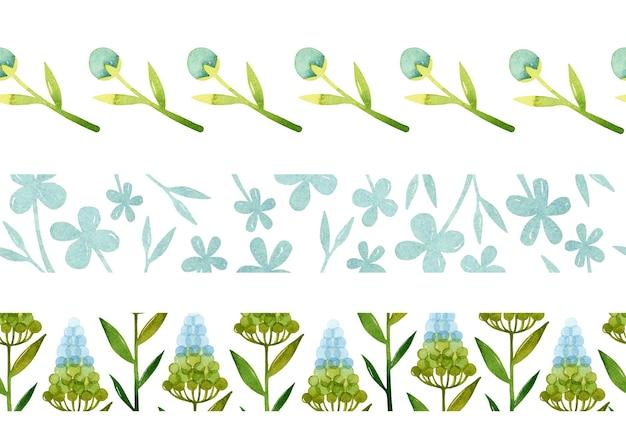 Flores de primavera em aquarela de bordas sem costura