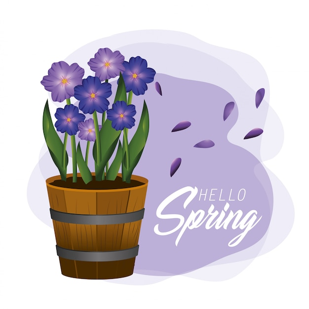 Flores de primavera exóticas plantas com folhas