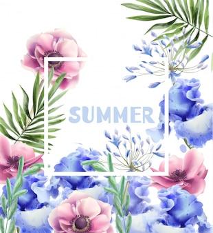 Flores de primavera moldura cartão aquarela