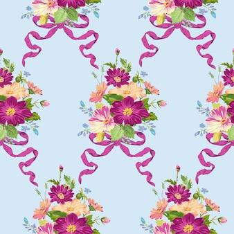 Flores de primavera sem costura padrão floral