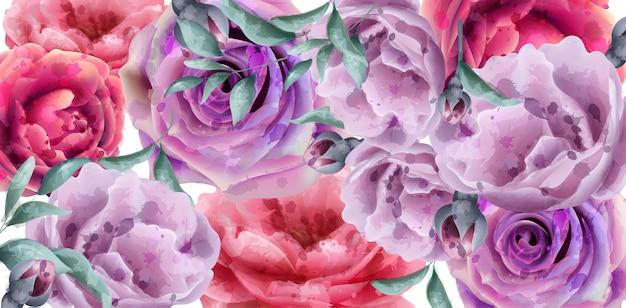 Flores de primavera verão banner aquarela
