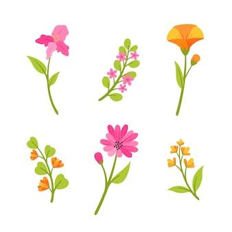 Flores de rosa e laranja de design plano