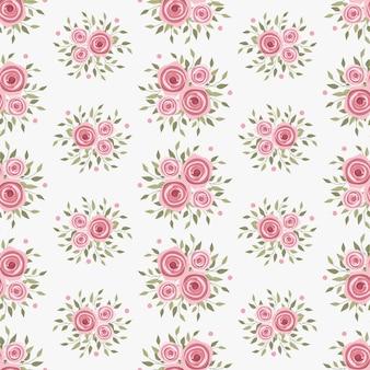 Flores de rosa rosa grinalda hera estilo com galho e folhas, padrão sem emenda