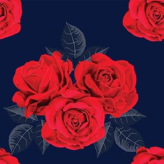 Flores de rosa vermelha sem costura padrão vintage azul escuro.
