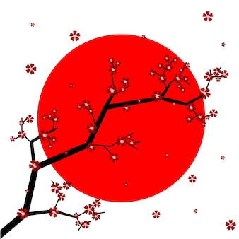 Flores de sakura com a bandeira do japão no fundo