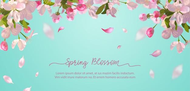 Flores de sakura e pétalas voadoras no fundo da primavera