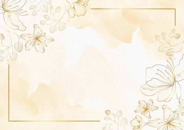 Flores de sakura em modelo aquarela de fundo dourado