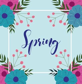 Flores de texto de primavera