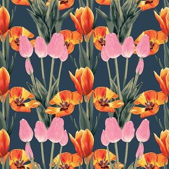 Flores de tulipa floral padrão sem emenda abstrato. estilo de desenho aquarela de ilustração vetorial.